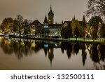 Stock photo swiss national museum schweizerisches landesmuseum in zurich at night switzerland 132500111