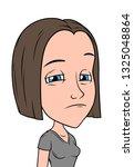 cartoon brunette sad girl... | Shutterstock .eps vector #1325048864