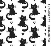 seamless pattern with black cats | Shutterstock .eps vector #1325054141