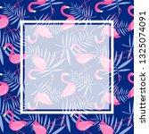 card with pink flamingo birds | Shutterstock .eps vector #1325074091