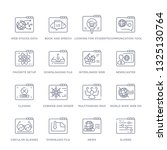 set of 16 thin linear icons... | Shutterstock .eps vector #1325130764