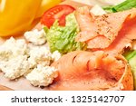 salmon with cottage cheese aand ... | Shutterstock . vector #1325142707