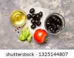 ingredients for greek salad on... | Shutterstock . vector #1325144807