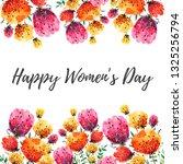 watercolor spring flowers frame.... | Shutterstock . vector #1325256794