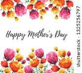 watercolor spring flowers frame.... | Shutterstock . vector #1325256797