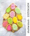 easter cookies egg shape ... | Shutterstock . vector #1325261654