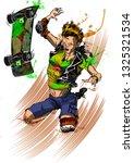 skater teenager girl falling... | Shutterstock . vector #1325321534