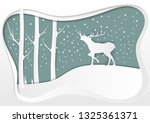 deer in forest with snow and... | Shutterstock .eps vector #1325361371