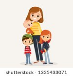 mom with kids  | Shutterstock .eps vector #1325433071