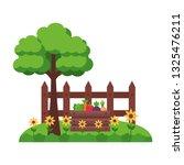 tree vegetables fence farm | Shutterstock .eps vector #1325476211