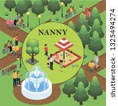 isometric childcare colorful... | Shutterstock .eps vector #1325494274