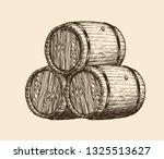 wine cellar  winery. wooden... | Shutterstock .eps vector #1325513627