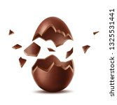 realistic chocolate egg. broken ... | Shutterstock .eps vector #1325531441