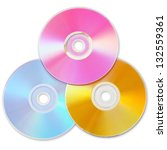 Three Colored Cd Isolated On...
