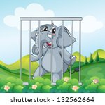 Illustration Of A Caged Gray...