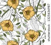 folk flowers. seamless floral...   Shutterstock .eps vector #1325636987