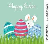 decorative easter eggs on green ...   Shutterstock .eps vector #1325669621
