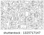 hand drawn cosmetology set... | Shutterstock .eps vector #1325717147
