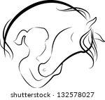 Stock photo raster illustration of horse and girl friendship logo there is also vector original in my 132578027