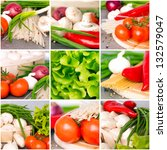 Fresh Vegetables Collage On Th...