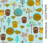 cute colorful vector with owl... | Shutterstock .eps vector #132579695