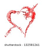 Red water splash in heart shape isolated on a white background - stock photo