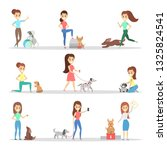 Stock photo women with dogs set happy and smiling people 1325824541