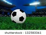 soccer ball on green grass in... | Shutterstock . vector #132583361