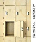 row of lockers one is open. | Shutterstock . vector #132585149
