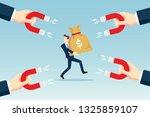 attracting money bag | Shutterstock .eps vector #1325859107