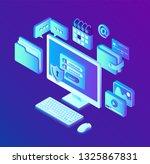 data protection. desktop pc... | Shutterstock .eps vector #1325867831
