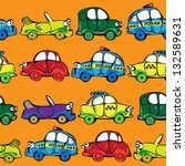 seamless multicolor cars pattern | Shutterstock . vector #132589631