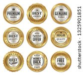 set of quality product golden... | Shutterstock .eps vector #1325901851