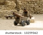 Old cannons in Al-Quseir - stock photo