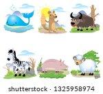 vector animal set  whale ... | Shutterstock .eps vector #1325958974