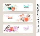 Stock vector banners with hand drawn floral background 132600905