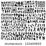 big set of people silhouettes | Shutterstock .eps vector #132604835