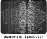 radial engine on a gray... | Shutterstock .eps vector #1326071324