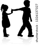 vector silhouette of children... | Shutterstock .eps vector #1326137327