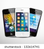 three touchscreen smartphones... | Shutterstock .eps vector #132614741