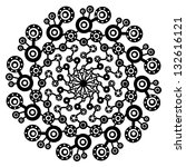 black ornamental abstract round ... | Shutterstock . vector #132616121