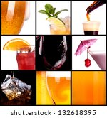collage with alcohol cocktails  ... | Shutterstock . vector #132618395