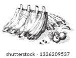 sketch hand drawn pork fried...   Shutterstock .eps vector #1326209537