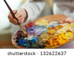 artist brush mix color oil... | Shutterstock . vector #132622637