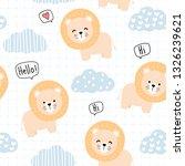 Stock vector cute adorable kawaii orange lion with cute cloud and sky hand drawn cartoon doodle on grid blue 1326239621