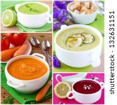 collage of cream soup for menu | Shutterstock . vector #132631151