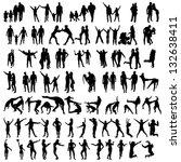 family silhouettes . vector... | Shutterstock .eps vector #132638411