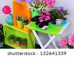 colorful shelves and table with