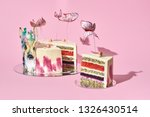pastel colors tasty cake with... | Shutterstock . vector #1326430514
