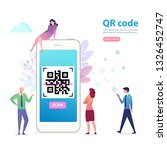 phone with qr code and...